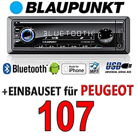 Peugeot 107 brisbane bLAUPUNKT - 230/mP3/uSB avec kit de montage autoradio avec bluetooth