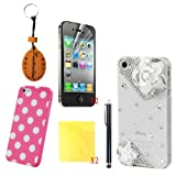 (TRAIT) 7in1 White Flower crystal White back case for iphone 4 4G 4S Case Luxury DIY 3D bling diamond rhinestone for iphone4 hard back cover+TPU Silicon Gel Rubber Case+ 2 * screen protector + 2 * Cleaning cloth + 1 * Touch Screen pen
