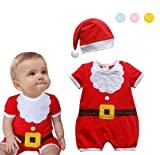 Baby Toddler Christmas Santa Claus Costume ROMPER + HAT 2-Piece Outfit (90 12-18 months)