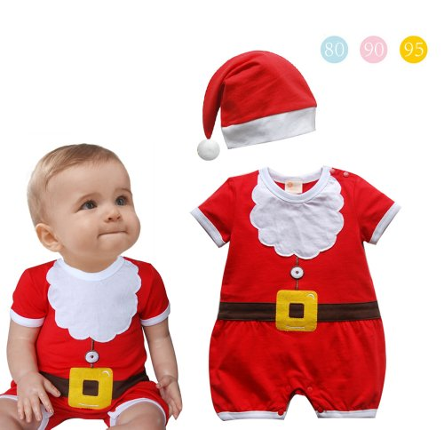 Baby Toddler Christmas Santa Claus Costume ROMPER + HAT 2-Piece Outfit