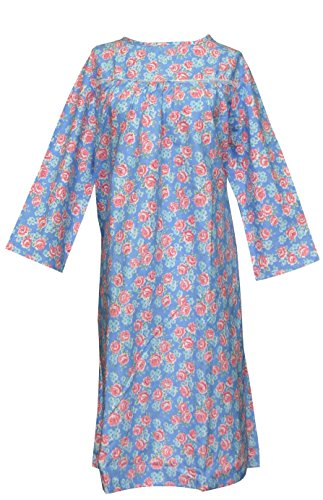Women's Adaptive Flannel Backwrap Gown - Blue with Pink Flower - 3xl ...