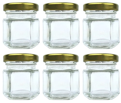 1.5 oz (45 ml) Mini hexagon food grade glass jars with metal lid for favors, sample jars, spice storage by Original Merchants (6 Pack)!