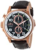 Force Chronograph Rose Gold Tone Stainless Steel Case Leather Bracelet Black Tone Dial