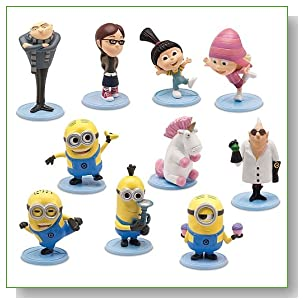 Despicable Me 2 PVC 2 Inch Mini Figure 10-Piece Set [Gru, Dr.Nefario, Margo, Edith, Agnes, Unicorn, Tim, Dave, Tom