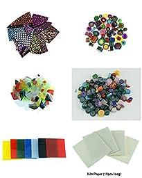 5 Bags Microwave Kiln COE90 Fusing Glass and 10 Sheets Kiln Paper