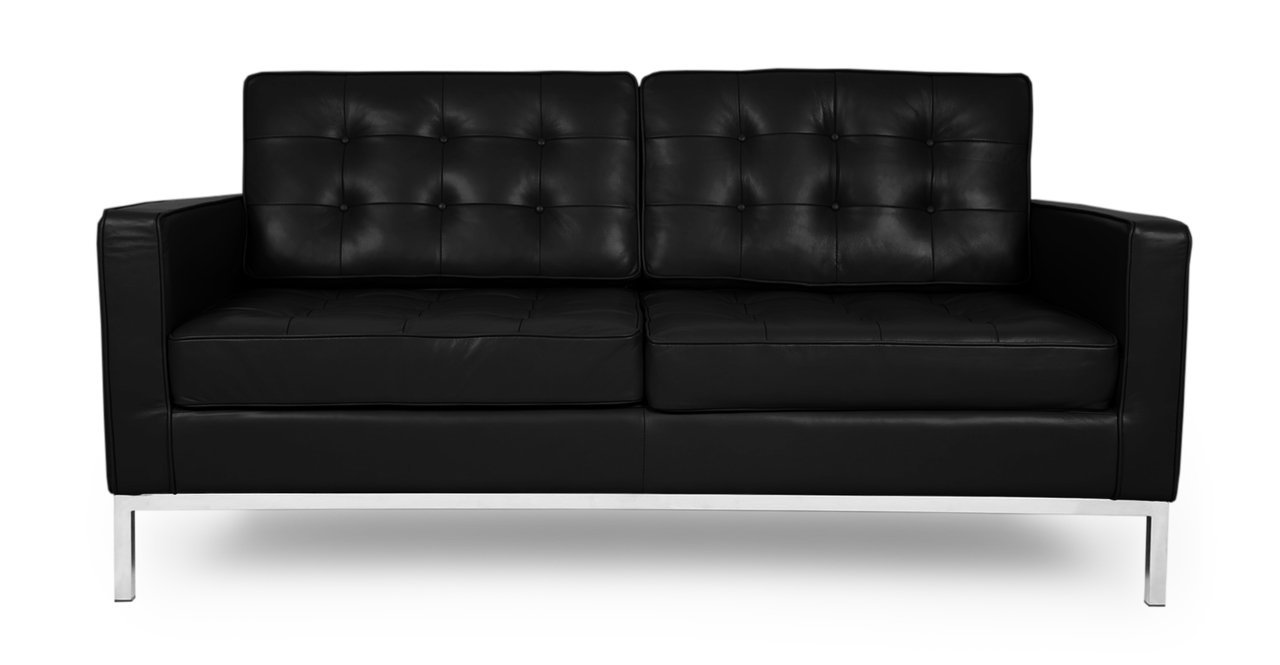 Kardiel Florence Knoll Style Loveseat - Black Aniline Leather