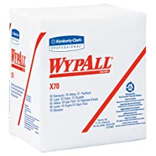 "Kimberly-Clark Wypall X70 Disposable Wiper, 13"" Length x 12-1/2"" Width, White (12 Packs of 76)"