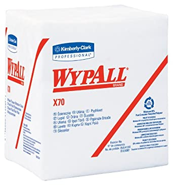 "Kimberly-Clark WypAll 41200 Disposable X70 Wiper, 1/4 fold, 12.5"" Width x 13"" Length, White (12 Packs of 76)"