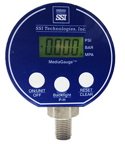 SSI MG-9V Series Media Gauge Digital Pressure Gauge Sensor with LCD Display, 5000psig Operating Pressure, 9V, +/- 0.25% Accuracy, 1/4-18