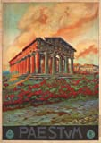 PAESTUM Italy - Vintage Italian Travel Poster by Vincenzo Alicandri 1925 A4 Matte Finish (210 x 297mm)