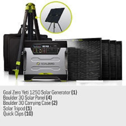 Goal Zero Yeti 1250 Solar Generator Kit with cart, (4) Boulder 30 solar panels, (2) panel carrying cases, (1) Solar Tripod (holds 4 panels), (8) Boulder Clips