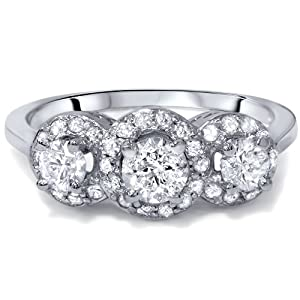 1.00Ct 3-Stone Diamond Vintage Halo Engagement Ring 14K White Gold Size 6 from Pompeii3 Inc.