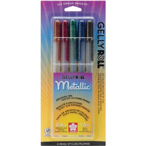 Gelly Roll metallizzato mezzo punto penne 5/Pkg-seppia/Borgogna/cacciatore/blu-nero/nero