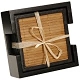 7 Piece Bamboo and Faux Leather Natural Coaster Set