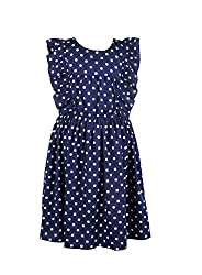 CoffeeBean Kids Girls Blue Polka Dot Dress (6-7 Years)