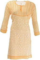AKS Lucknow Women's Regular Fit Kurti (TK-54_46, PEACH, 46)