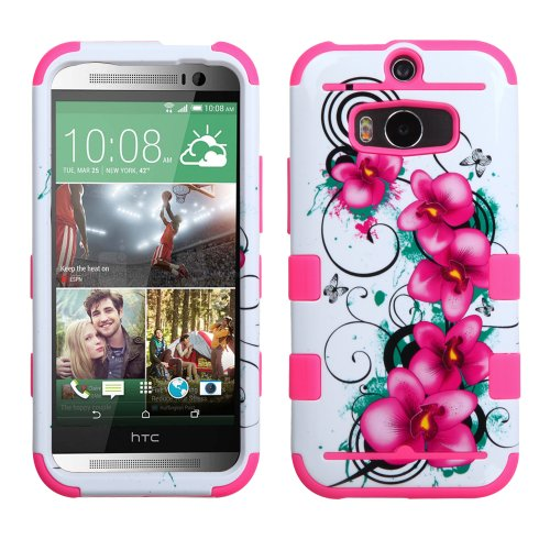 Nagebee(Tm) - Htc One M8 - Design Premium Heavy Duty Defender Hybrid Phone Cover Case + {Lcd Screen Protector Shield(Ultra Clear) + Dust Speaker Plug + Touch Screen Stylus} (Hybrid Morning Petunias/Electric Pink) front-1011978