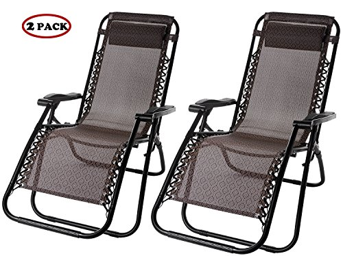 【BIG SALE】Merax Lounge Chair Zero Gravity Deck Chair Folding Reclining Patio Chair Set of 2(Brown)
