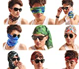Natuworld Fashion 6pcs Unisex Outdoor Cycling Headbands Multi-functional Magic Scarf,Seamless Style Bandanna Scarf Wrap Scarf Face Mask, High Elastic Magic Headband with Uv Resistance, - Mixed Sets
