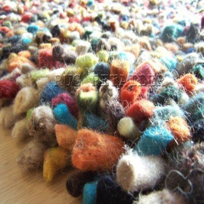 Area Rugs Gems Modern Multi Colour Shaggy Pile Felted