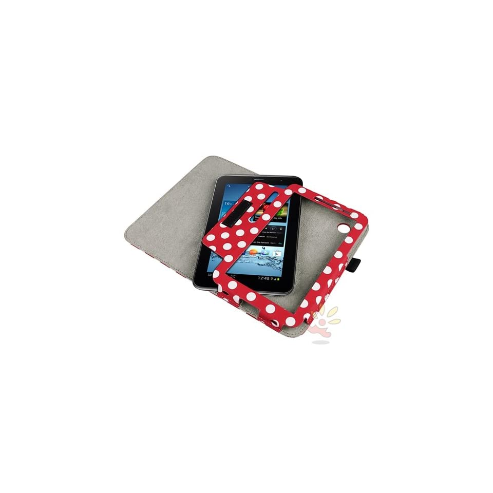 Everydaysource Red/ White Polka Dot Leather Case with Stand compatible with Samsung© Galaxy Tab 2 7.0 P3100/ P3110, Computers & Accessories