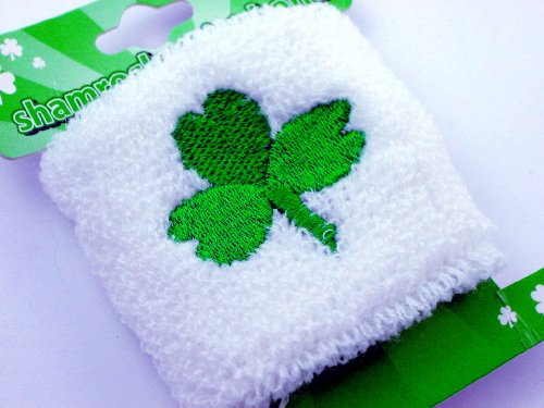 St. Patrick's Day Good Luck Clover Wrist Bands (Pair) (White w. Green Shamrock)