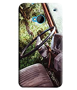 Blue Throat Old Car Steering Printed Designer Back Cover/Case For HTC One M7