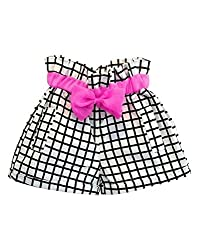 Snoby Black and white check shorts with pink bow(SBYkk529)