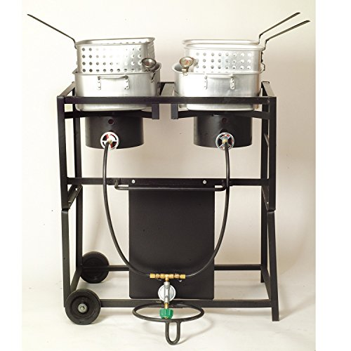King Kooker KKDFF30T 30-Inch Dual-Burner Outdoor Propane Frying Cart (Propane Fryer Burner compare prices)