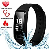 Fitness Tracker Band Smart Bracelet with Heart Rate/Blood Pressure/Sleep Monitor Waterproof Wristband Activity Tracker Text Call Reminder Steps Counter with Touch OLED Screen for IOS and Android Phone