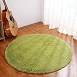 YJ.GWL Ultra Soft Round Green Area Rugs for Bedroom Anti-slip Fluffy Kids Room Rug Cute Nursery Carpets Mat Home Decorate 4 Feet (Color: Green, Tamaño: 4' Round)