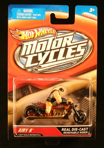 AIRY 8 (Gold & Black) * MOTORCYCLE & RIDER * Hot Wheels 1:64 Scale 2012 Die-Cast Vehicle