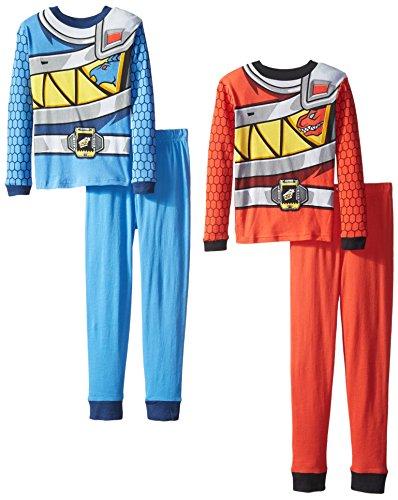 Power Rangers Big Boys' Duo Charge 4-Piece Pajama Set, Red/Blue, 10 (Power Ranger Pajamas compare prices)