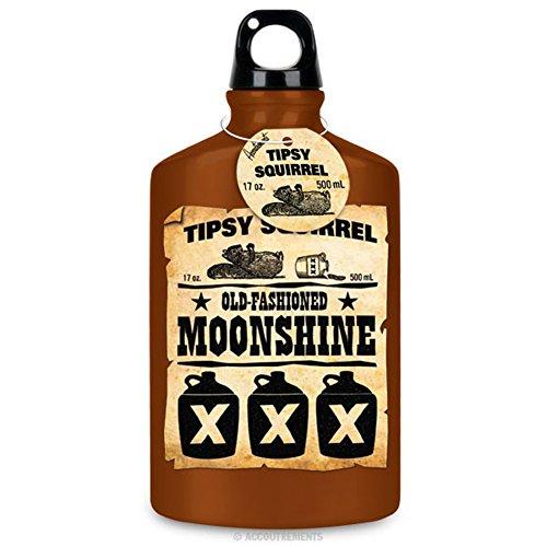 17Oz Tipsy Squirrel Old Fashioned Moonshine Novelty Water Bottle Flask front-696589