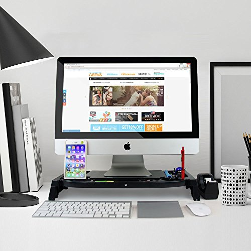 Eutuxia Slim Universal Monitor Laptop Multimedia Stand with Desk Organizer LED LCD – [Type C] (Black Plastic)