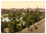 Victorian View of St. Stephen's Green Park, County Dublin, Dublin, Ireland, Large A3 size 41 by 28 cm Canvas Textured Fine Art Paper Photo Print