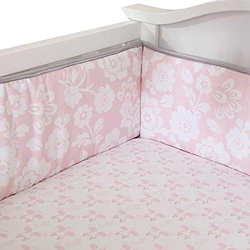 Lambs & Ivy Swan Lake Crib Bumper, Pink/White/Grey front-946328