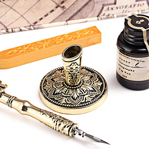 Antique Feather Writting Quill Pen Gold Pen Stem Real Feather Calligraphy Pen Set 100% Quality Guarantee 4