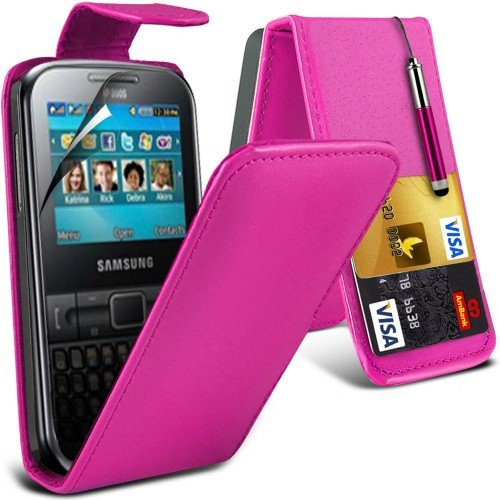 Samsung Galaxy Chat S3350 Leather Flip Case Cover (Hot Pink) Plus Free Gift, Screen Protector and a Stylus Pen, Order Now Best Valued Phone Case on Amazon! By FinestPhoneCases (Samsung S3350 compare prices)