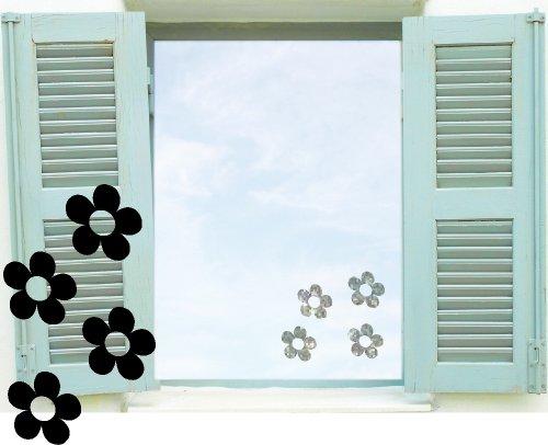 Fenstertattoo selbstklebende ~ Blumen Shiny Flowers, Blümchen ~ glas062 Aufkleber für Fenster, Glastür und Duschtür, Badezimmer Glasdekor Fensterbild, wasserfeste Glasdekorfolie in Sandstrahl - Milchglas Optik (80 Stück je 7 cm)