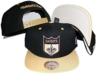 New Orleans Saints Black/Gold Two Tone Snapback Adjustable Plastic Snap Back Hat / Cap