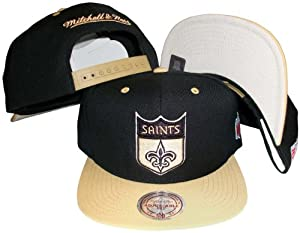 New Orleans Saints Black Gold Two Tone Snapback Adjustable Plastic Snap Back Hat Cap by Mitchell & Ness
