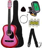 "Crescent MG38-PK 38"" Acoustic Guitar Starter Package, PINK (Includes CrescentTM Digital E-Tuner)"