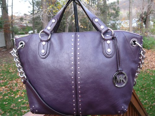 MICHAEL KORS Uptown Astor Large Chain Leather Satchel Handbag