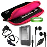Amazon Kindle ( Wifi Only , Wifi + 3G ) ( Latest Generation ) Accessories Kit: Jet Black with Hot Pink Carrying Sleeve