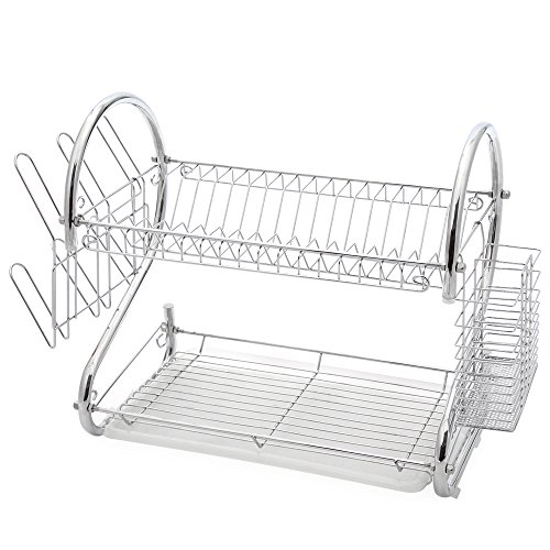 2-Tier Stainless Steel Dish Drying Holder Rack by Juvale