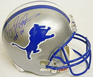 Buy Barry Sanders Signed Lions Riddell T B Full-Size Replica Helmet w HOF'04 by Schwartz Sports Memorabilia