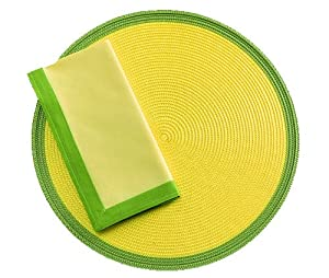 Tag Two-Tone Woven Round Placemat and Napkins, Set of 4, Yellow with Green Border