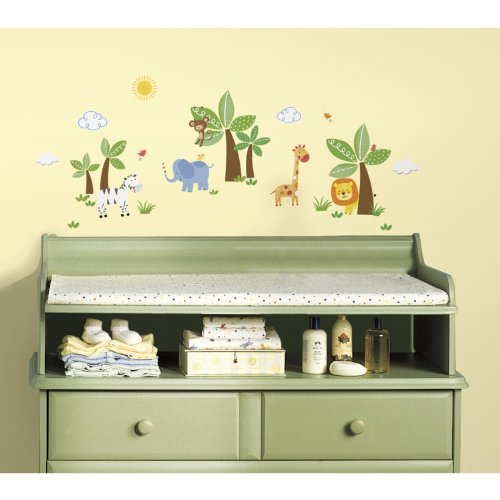 RoomMates RMK2635SCS Jungle Friends Peel and Stick Wall Decals - 1