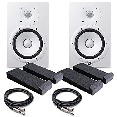 Yamaha HS8 W 8-Inch Powered Studio Monitor, White - FREE Insolation PAD (Pair) , (2) PSC XLR to 1/4 Cables 20ft ea. by YAMAHA